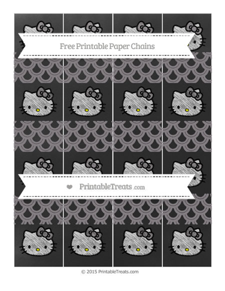 Free Taupe Grey Fish Scale Pattern Chalk Style Hello Kitty Paper Chains