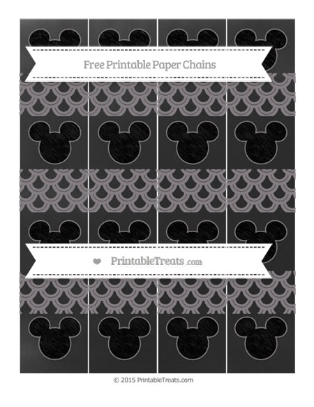 Free Taupe Grey Fish Scale Pattern Chalk Style Mickey Mouse Paper Chains