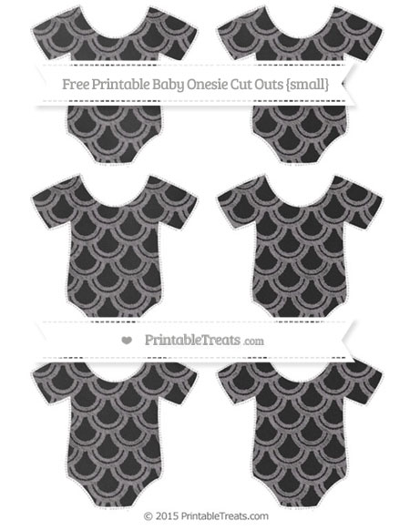 Free Taupe Grey Fish Scale Pattern Chalk Style Small Baby Onesie Cut Outs