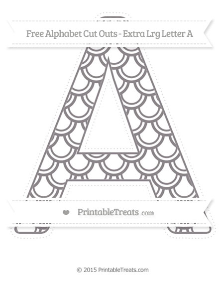 Free Taupe Grey Fish Scale Pattern Extra Large Capital Letter A Cut Outs