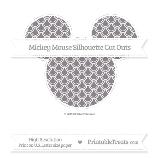 Free Taupe Grey Fish Scale Pattern Extra Large Mickey Mouse Silhouette Cut Outs