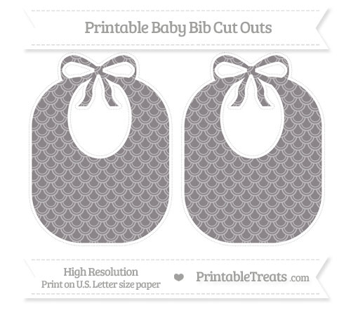 Free Taupe Grey Fish Scale Pattern Large Baby Bib Cut Outs