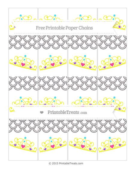 Free Taupe Grey Fish Scale Pattern Princess Tiara Paper Chains