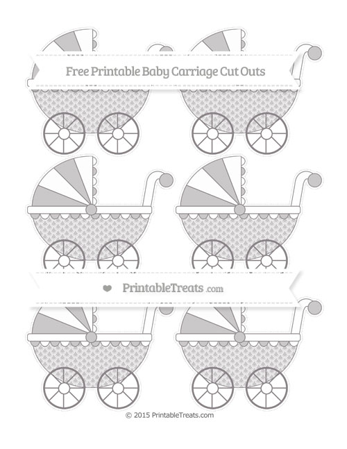 Free Taupe Grey Fish Scale Pattern Small Baby Carriage Cut Outs