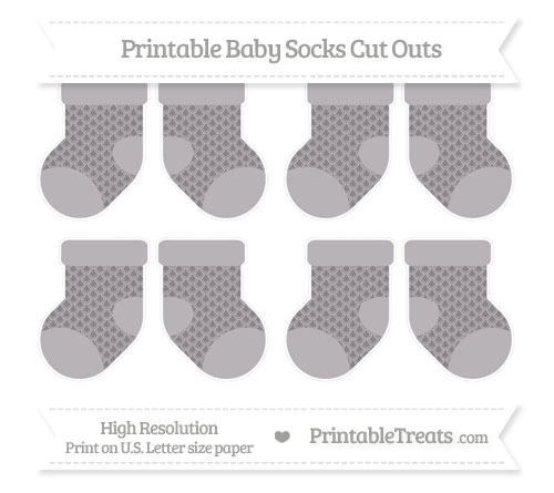 Free Taupe Grey Fish Scale Pattern Small Baby Socks Cut Outs
