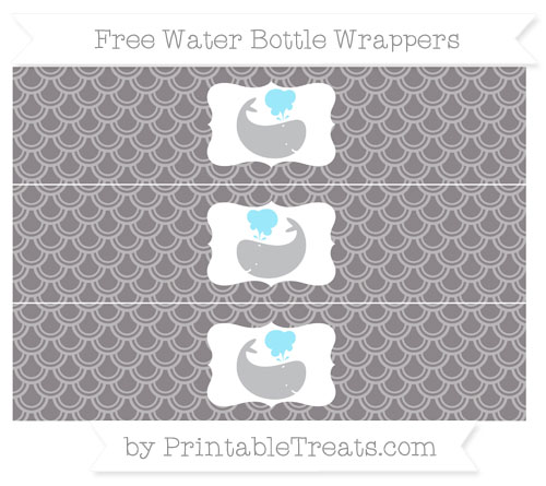 Free Taupe Grey Fish Scale Pattern Whale Water Bottle Wrappers