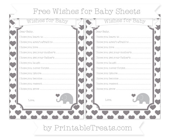 Free Taupe Grey Heart Pattern Baby Elephant Wishes for Baby Sheets