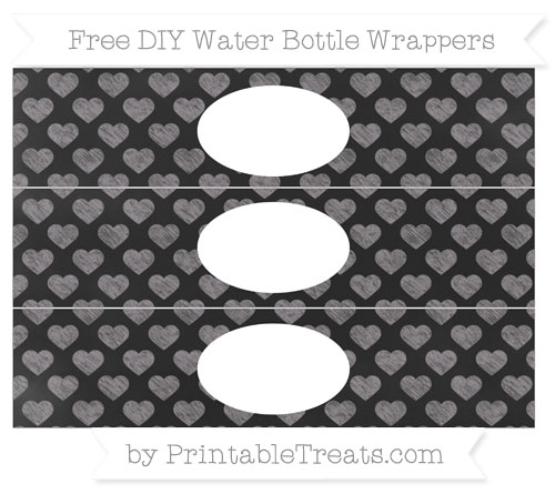 Free Taupe Grey Heart Pattern Chalk Style DIY Water Bottle Wrappers