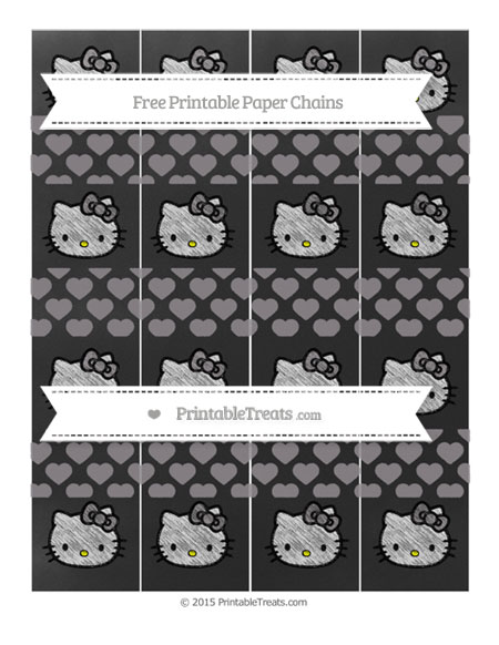 Free Taupe Grey Heart Pattern Chalk Style Hello Kitty Paper Chains