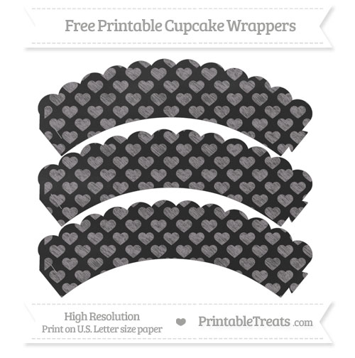 Free Taupe Grey Heart Pattern Chalk Style Scalloped Cupcake Wrappers