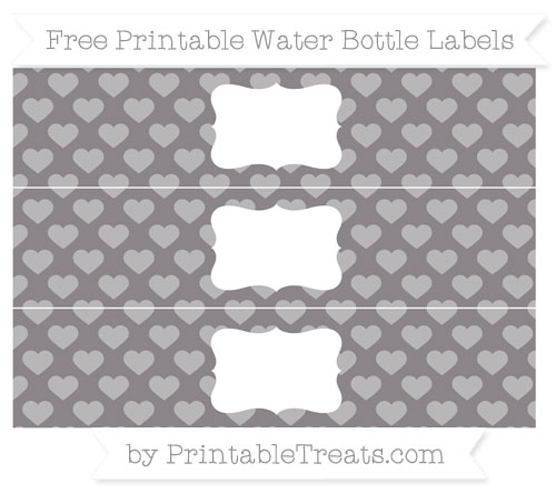 Free Taupe Grey Heart Pattern Water Bottle Labels
