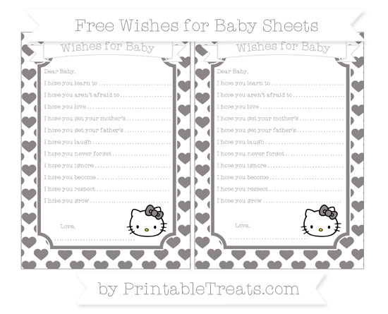 Free Taupe Grey Heart Pattern Hello Kitty Wishes for Baby Sheets