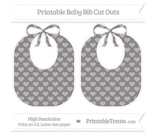 Free Taupe Grey Heart Pattern Large Baby Bib Cut Outs