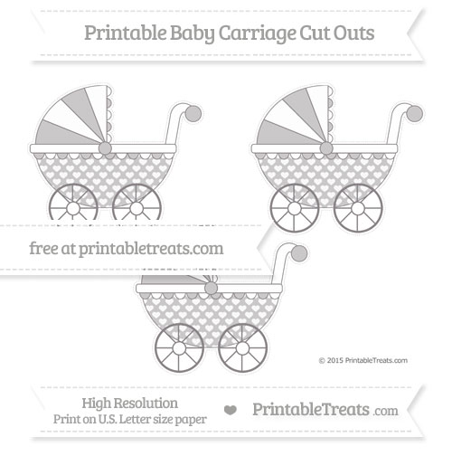 Free Taupe Grey Heart Pattern Medium Baby Carriage Cut Outs