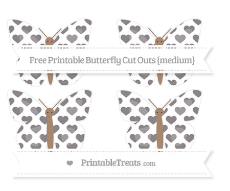 Free Taupe Grey Heart Pattern Medium Butterfly Cut Outs