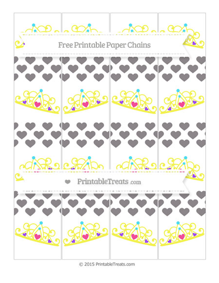 Free Taupe Grey Heart Pattern Princess Tiara Paper Chains