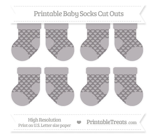 Free Taupe Grey Heart Pattern Small Baby Socks Cut Outs