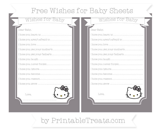 Free Taupe Grey Hello Kitty Wishes for Baby Sheets