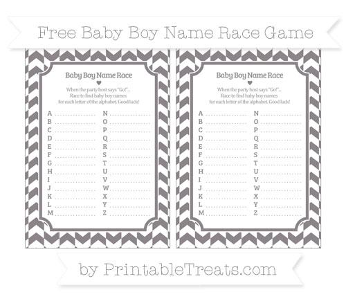 Free Taupe Grey Herringbone Pattern Baby Boy Name Race Game