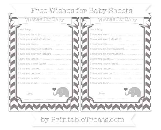 Free Taupe Grey Herringbone Pattern Baby Elephant Wishes for Baby Sheets