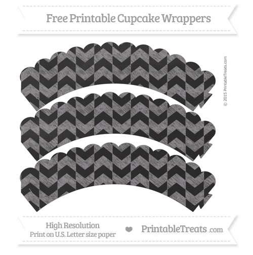 Free Taupe Grey Herringbone Pattern Chalk Style Scalloped Cupcake Wrappers
