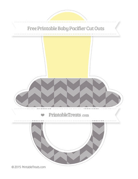 Free Taupe Grey Herringbone Pattern Extra Large Baby Pacifier Cut Outs