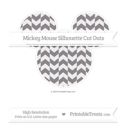 Free Taupe Grey Herringbone Pattern Extra Large Mickey Mouse Silhouette Cut Outs