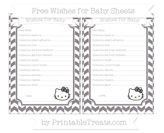 Free Taupe Grey Herringbone Pattern Hello Kitty Wishes for Baby Sheets