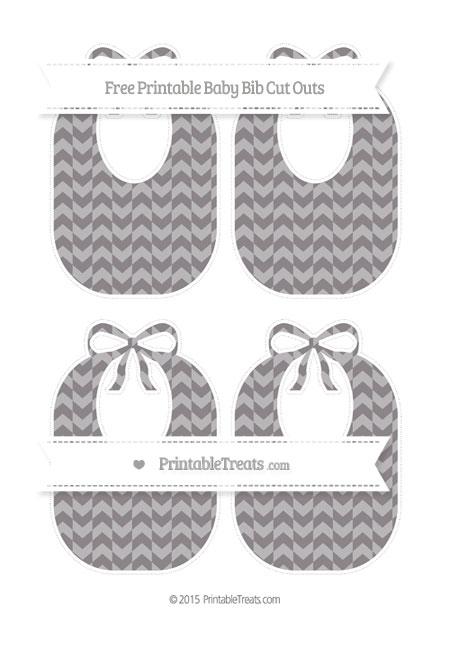 Free Taupe Grey Herringbone Pattern Medium Baby Bib Cut Outs