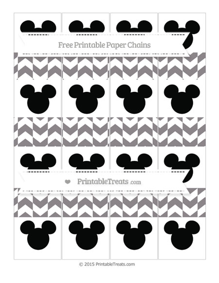 Free Taupe Grey Herringbone Pattern Mickey Mouse Paper Chains