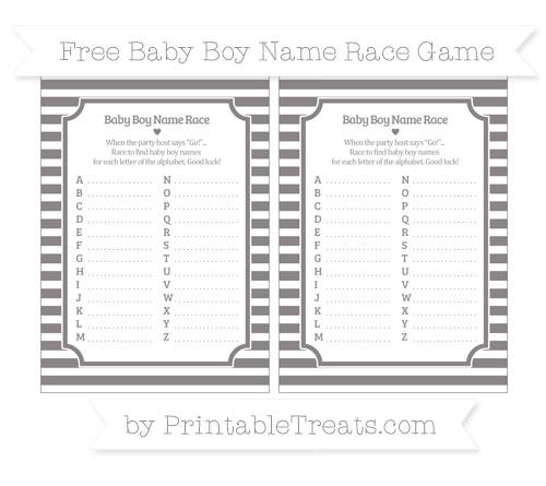 Free Taupe Grey Horizontal Striped Baby Boy Name Race Game