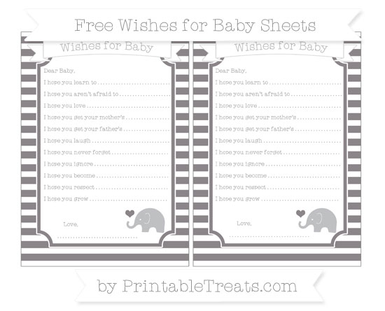 Free Taupe Grey Horizontal Striped Baby Elephant Wishes for Baby Sheets