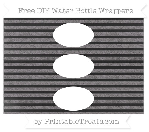 Free Taupe Grey Horizontal Striped Chalk Style DIY Water Bottle Wrappers