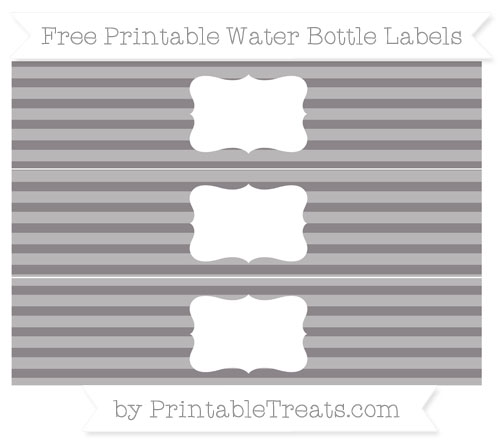 Free Taupe Grey Horizontal Striped Water Bottle Labels