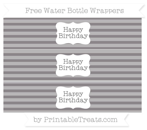 Free Taupe Grey Horizontal Striped Happy Birhtday Water Bottle Wrappers