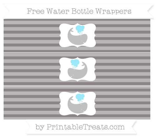 Free Taupe Grey Horizontal Striped Whale Water Bottle Wrappers
