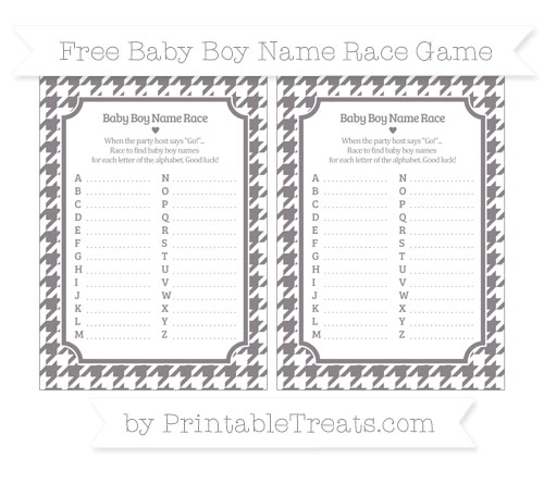 Free Taupe Grey Houndstooth Pattern Baby Boy Name Race Game
