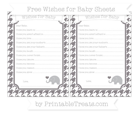 Free Taupe Grey Houndstooth Pattern Baby Elephant Wishes for Baby Sheets