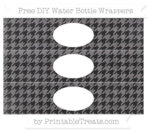 Free Taupe Grey Houndstooth Pattern Chalk Style DIY Water Bottle Wrappers