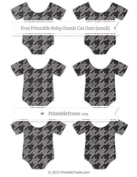 Free Taupe Grey Houndstooth Pattern Chalk Style Small Baby Onesie Cut Outs
