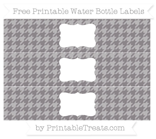 Free Taupe Grey Houndstooth Pattern Water Bottle Labels