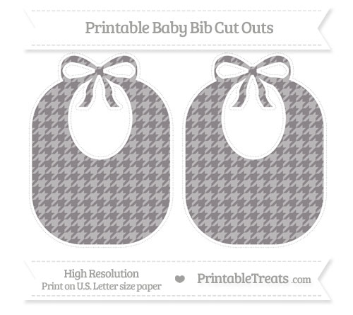 Free Taupe Grey Houndstooth Pattern Large Baby Bib Cut Outs