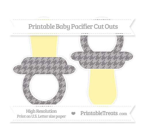 Free Taupe Grey Houndstooth Pattern Large Baby Pacifier Cut Outs