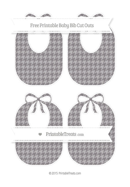 Free Taupe Grey Houndstooth Pattern Medium Baby Bib Cut Outs