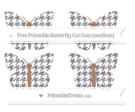 Free Taupe Grey Houndstooth Pattern Medium Butterfly Cut Outs