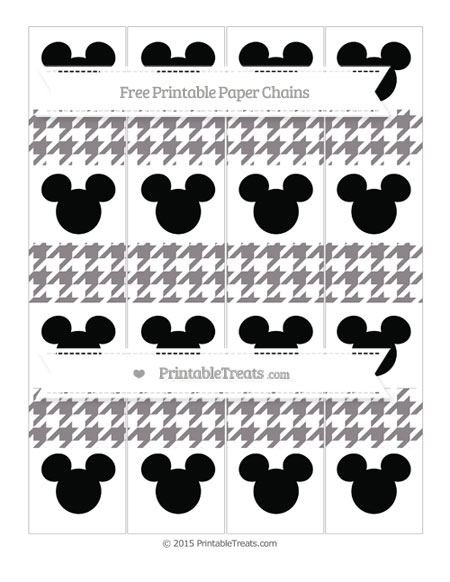 Free Taupe Grey Houndstooth Pattern Mickey Mouse Paper Chains