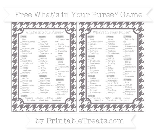 Free Taupe Grey Houndstooth Pattern What's in Your Purse Baby Shower Game