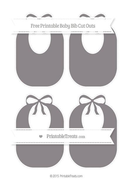 Free Taupe Grey Medium Baby Bib Cut Outs
