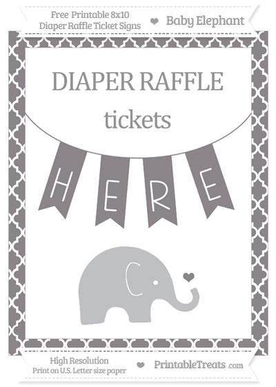 Free Taupe Grey Moroccan Tile Baby Elephant 8x10 Diaper Raffle Ticket Sign