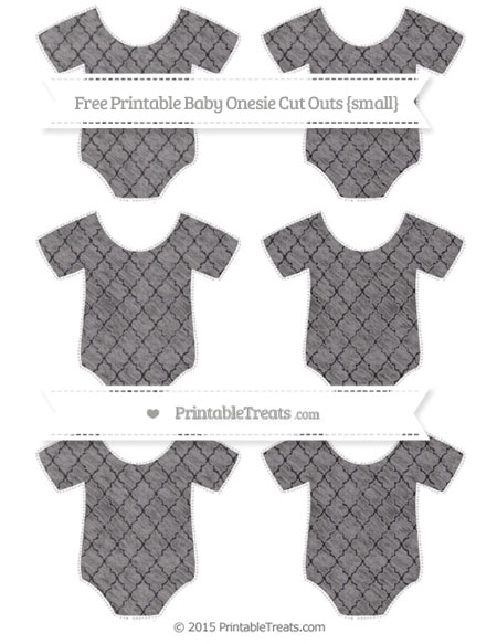 Free Taupe Grey Moroccan Tile Chalk Style Small Baby Onesie Cut Outs